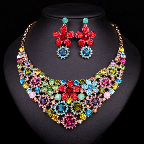 Colorful Flower Pendant Necklace Earrings Bridal Jewelry Sets Bride Indian Jewellery Wedding Women Dress Accessories Decoration