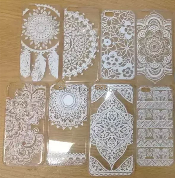 buy popular aa3ed 437d0 US $65.0 |50pcs DHL Mix Designs White Henna Floral Paisley Style Clear  Plastic Back Case Cover for iPhone 6 6 Plus on Aliexpress.com | Alibaba  Group