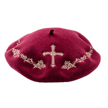 e2cc8e9fe700e DOUBCHOW Women s Cross Embroidered Artist Wool French Berets Cap Hats  Classical Teenagers Girls Maiden Baret Beanie