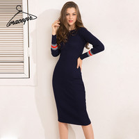 Gracegirl Winter Women Dresses Series Spring Striped Fitness Knitted Sweater Dress Casual Bodycon Slim Midi Vestidos