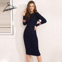 Gracegirl Winter Women Dresses Series Spring Striped Fitness Knitted Sweater Dress Casual Bodycon Slim Midi Vestidos