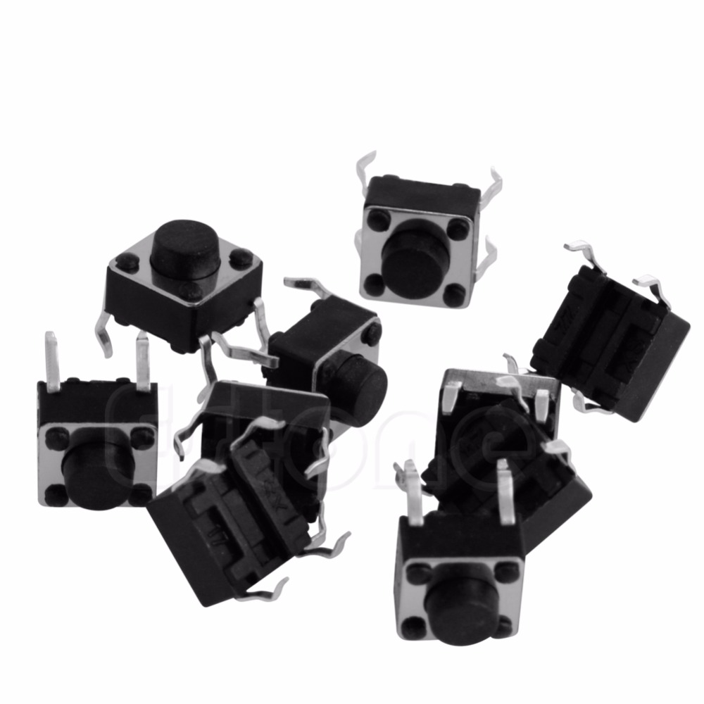 10 pcs Tactile Push Button Switch Tact Switch for Arduino 4P DIP 6X6X5mm цена