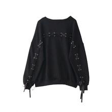 Korean Ulzzang Black Women Hoodie Kpop 90s Clothes Harajuku Gothic Bandage Casual Pullover Japanese Oversized Girls Sweatshirts