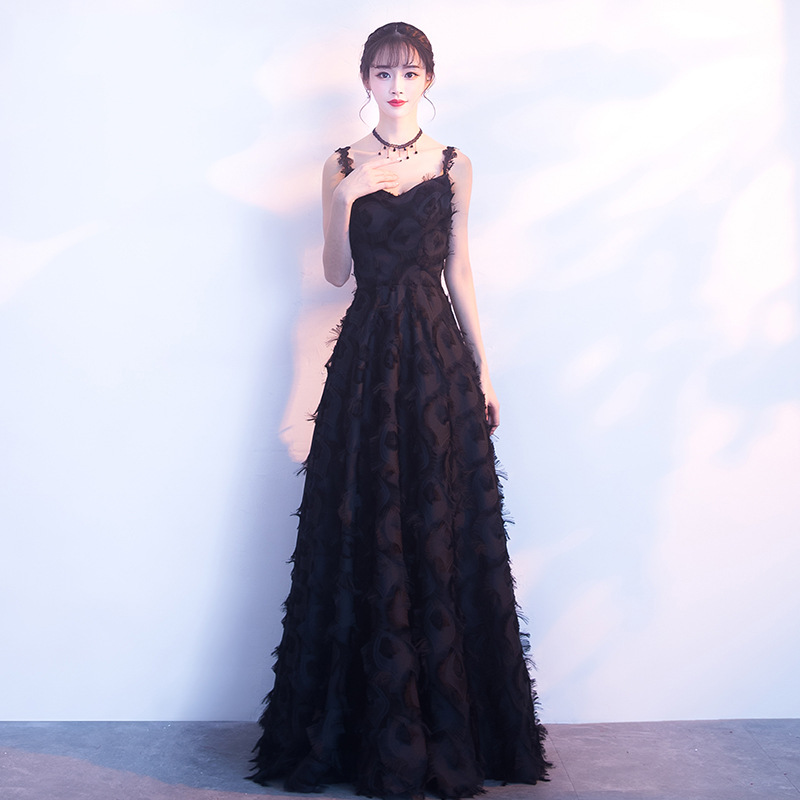 Evening Dress 2019 New Sling Long Section Was Thin Black Feathers Elegant Party Party Ladies Party Dinner Dress