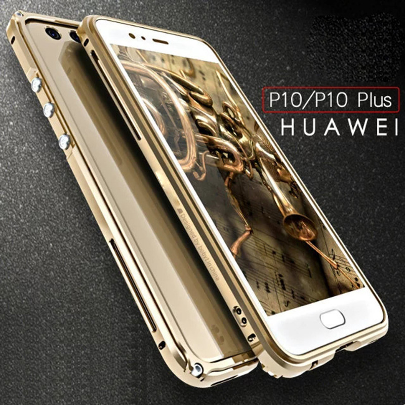 bilder für Huawei p10 case abdeckung metall huawei p10 plus rüstung aluminiumrahmen metallknopf p 10 plus stoßfest zurück transparente backplane