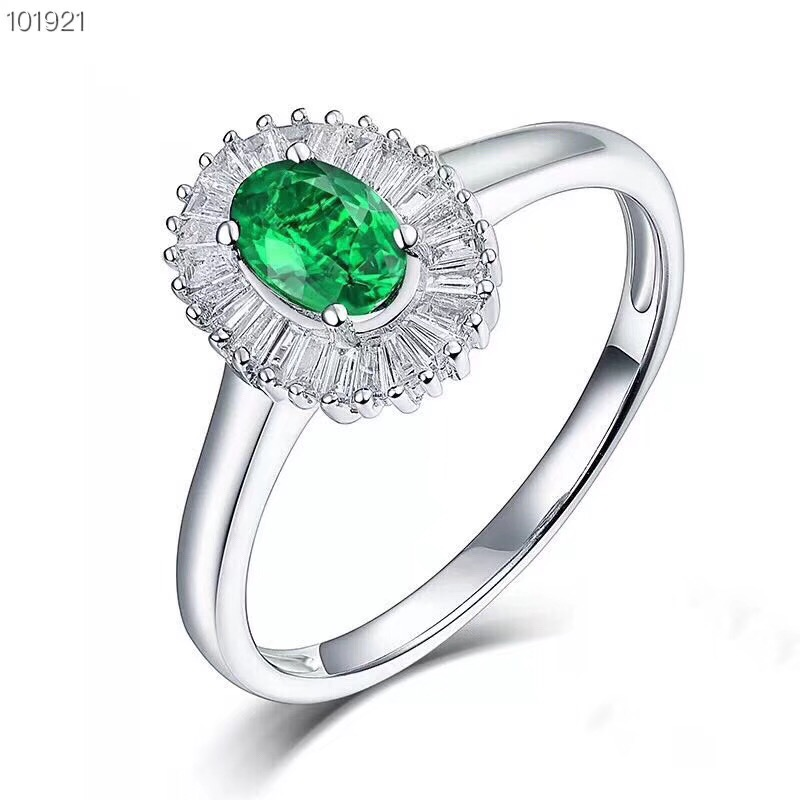 Uloveido Natural Emerald Ring Good Quality Gemstone Ring 925 Sterling Silver Wedding Ring Promise Ring for