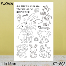 AZSG Various Lovely Animals Clear Stamps For DIY Scrapbooking/Card Making/Album Decorative Silicone Stamp Crafts
