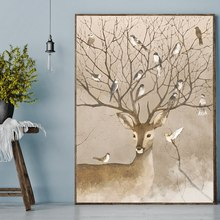 Nordic Poster Print Pretty Antler Deer Wall Decor Bird Animals Canvas Painting for Dining Room Art Horn Artwork Custom