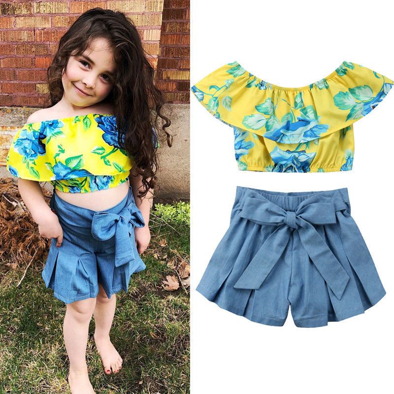 2019 Children Sets Floral Jumper tops with Denim Bow Short pants Summer Fashion Baby Sets Princess 2PCS Outfits
