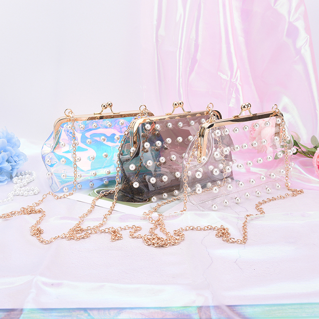 93d7f9c12736 Women Messenger Bag Fashion Pearl Hologram Laser Colorful Bag Clear  Transparent PVC Girls Small Chain Clutch