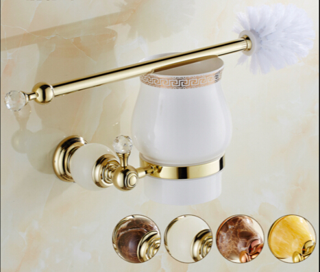 fashion Europe style Wall Mounted Brass & Jade Toilet Brush Holder golden Bathroom accessories wall mounted bathroom accessories brass toilet brush holder antique black oil brushed bathroom toilet brush free shipping