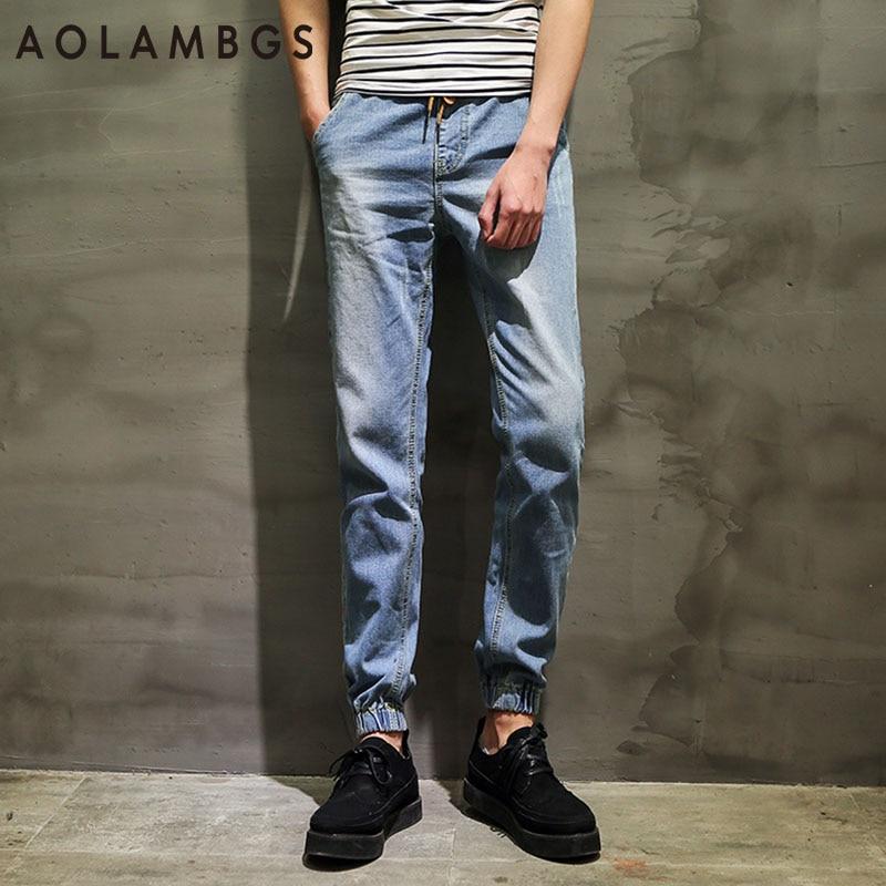 Men Joggers Jeans Fashion Classic Slim Fit Biker Denim Jogger Pants 2016 New Cotton Casual Haren Trousers Pencil Pants 28-36 summer men s denim jeans straight slim fit shorts mid waist cotton biker jeans cargo casual skinny pants trousers designer 2016