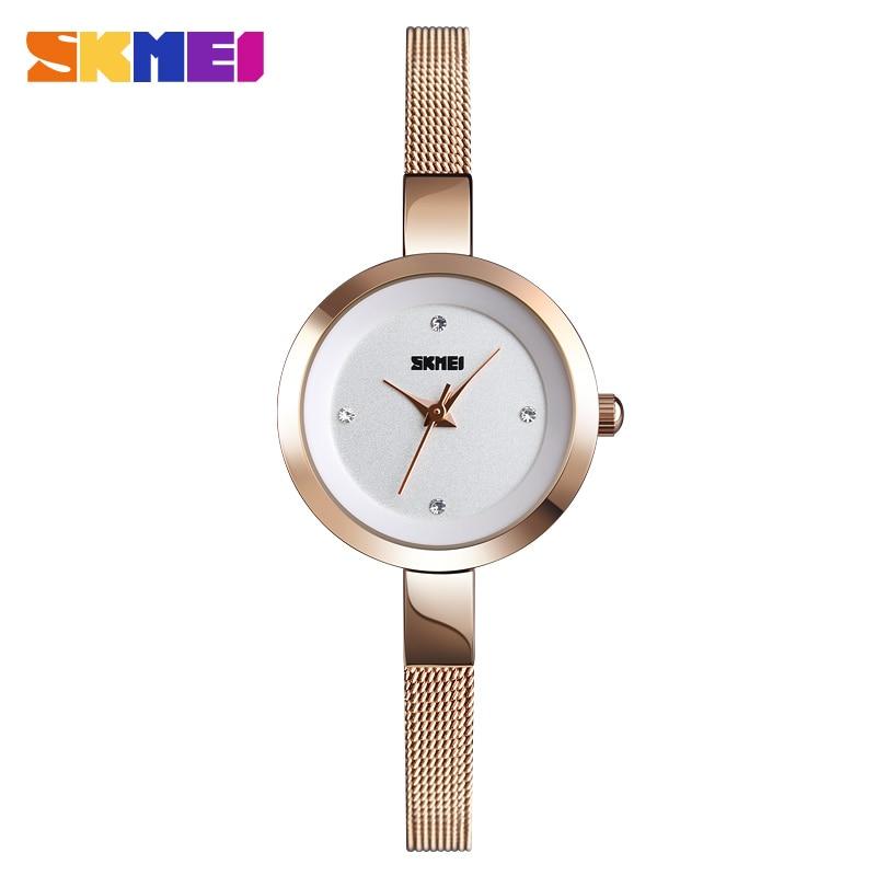 SKMEI Fashion Quartz Watches Women Exquisite Casual Stainless Steel Ladies Watch Simple Waterproof Wristwatch Famale Clock