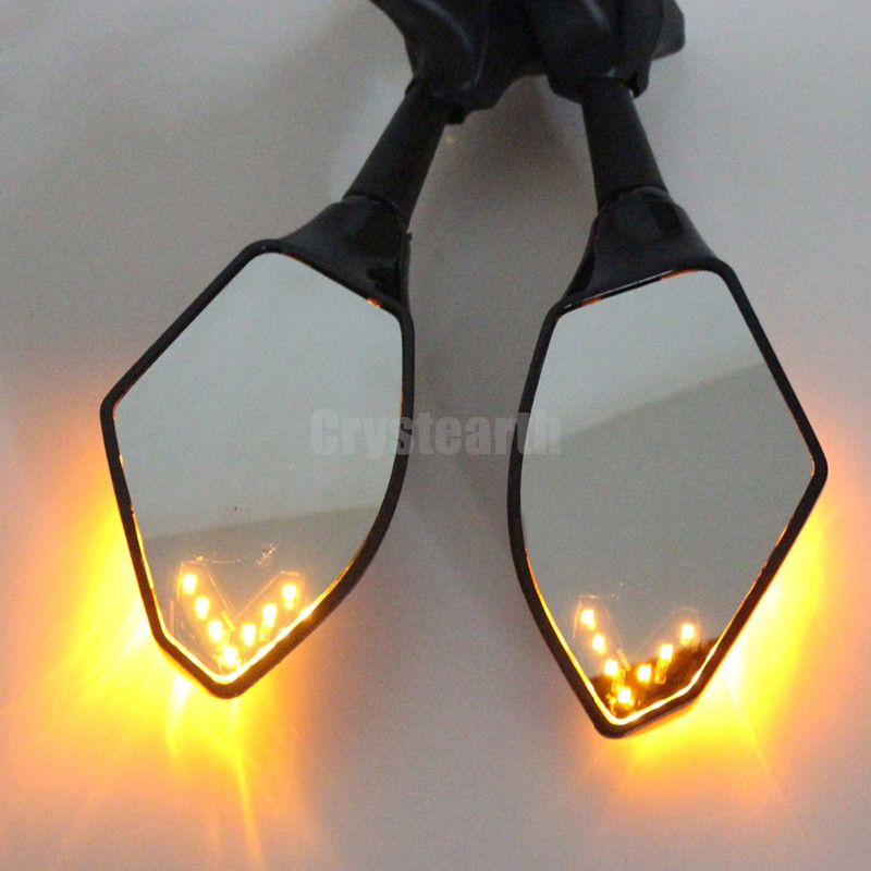 Black Motorcycle Rear View Side Mirrors Arrow LED Indicator For Yamaha FZR YZF