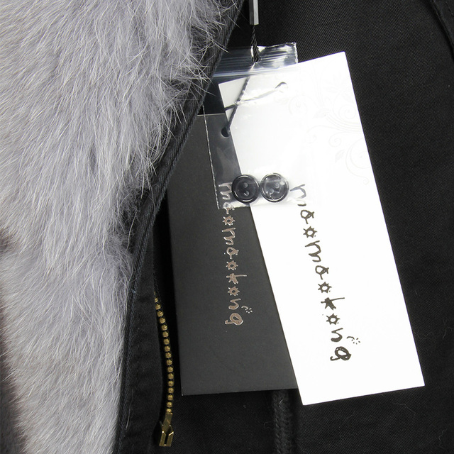 MaoMaoKong natural real fox fur Jacke coat Real Fox Fur Collar Cuff Hooded Coat Short Parka Long Camouflage winter jacket