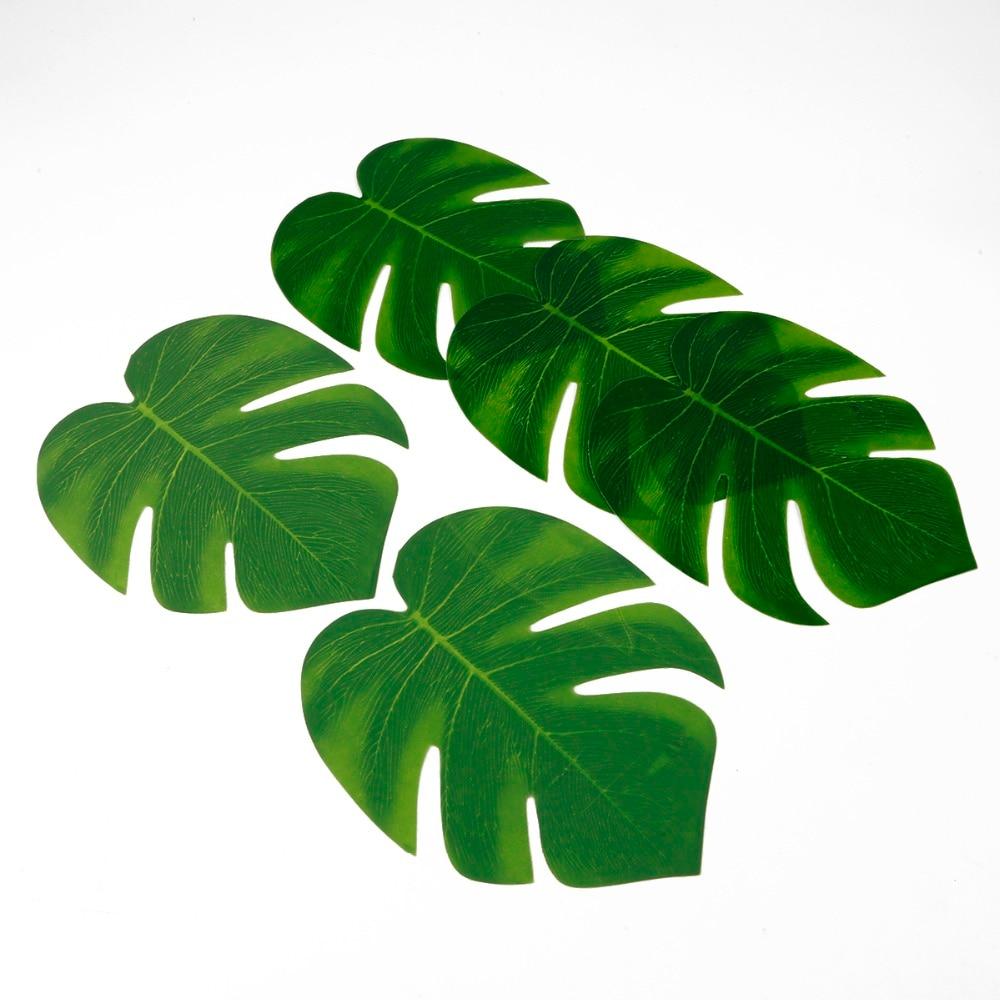 10pcs 12pcs Green Artificial Tropical Palm Leaves Hawaiian Luau Party Jungle Beach Theme Party Decoration Hawaii 6