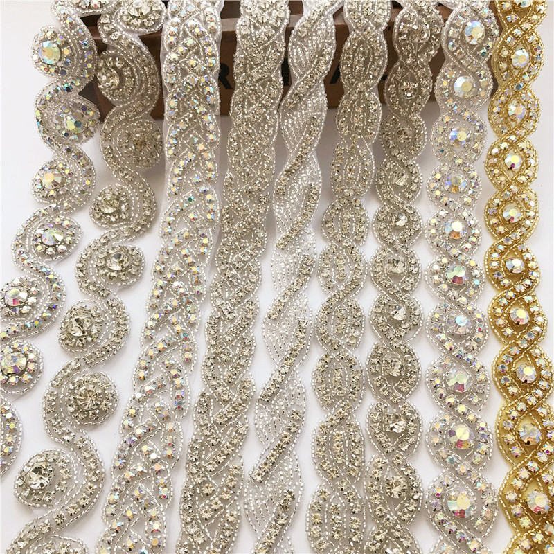 Flower Crystal Rhinestone Wedding Dress Accessories Pearl Beaded Lace Trim Fabric Applique Patches Iron On Or Sew On