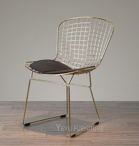 Or Rose Couleur Bertoia Fil Chaise Moderne Classique Harry Dacier Side Loft Cafe Dans Chaises De Table A
