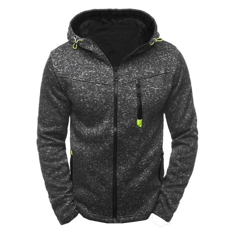 Men Sports Casual Wear Zipper Fashion Tide Jacquard Hoodies Fleece Jacket Fall Sweatshirts Autumn Winter Coat 1