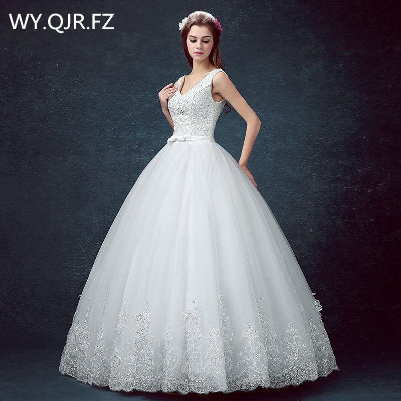 DM0416 V neck Bride s wedding dress Resin drill white Ball Gown lace up cheap wholesale