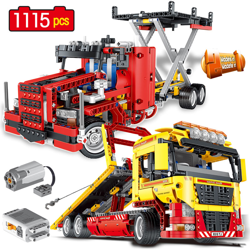 2 in 1 Transformation Truck Vehicle Electric Motor-driven building block Toys for Childrens Gift