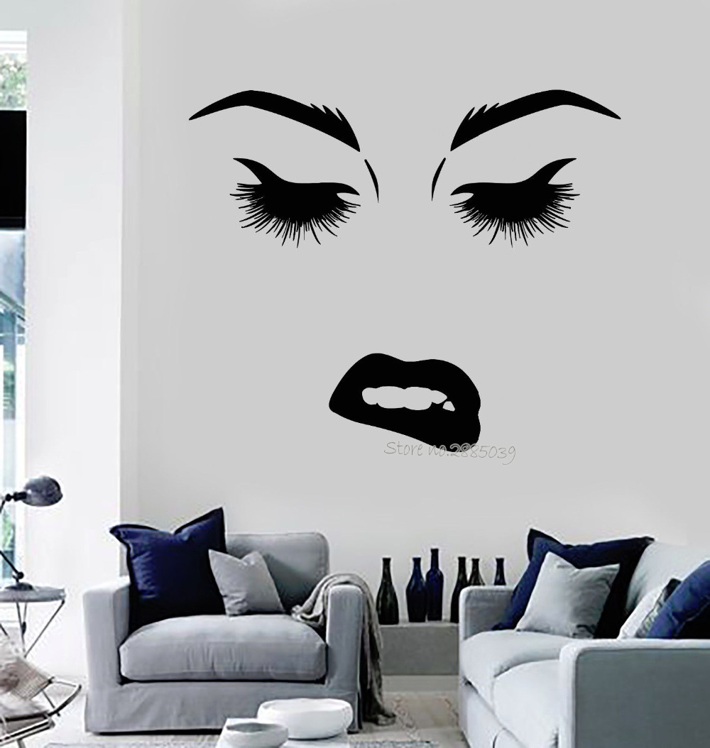 Removable Vinyl Fashion Style Wall Decal Beauty Woman Face