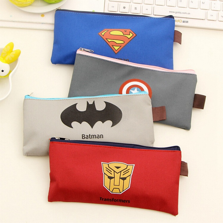 Batman Pencil Case Superman Hero Series Pencil Bag Captain America Stationery Pen Case For Boys Girls School Supplies