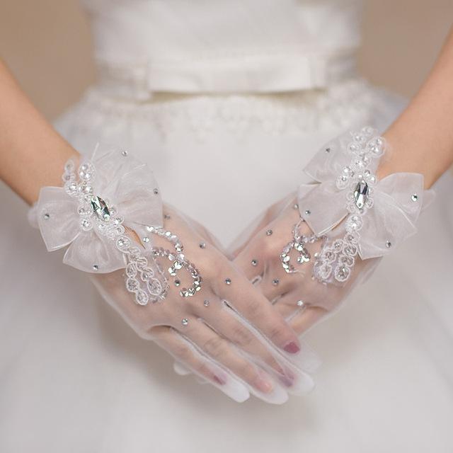 Don's Comprimento De Pulso Curto Elegante Cristal Frisado Laço Nupcial Luvas Mão Desgaste Acessórios Do Casamento