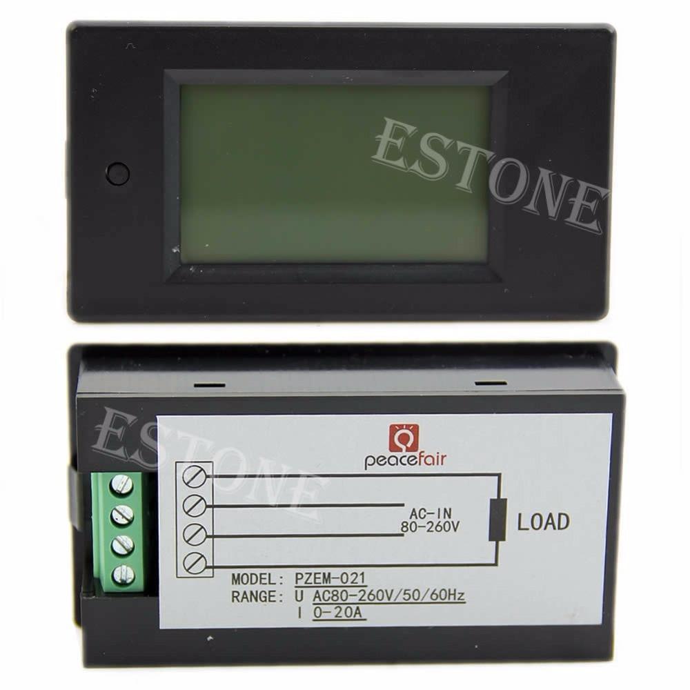 LCD digitální wattmetr volt watt ampérmetr voltmetr AC 80-260V 20A - Měřicí přístroje - Fotografie 4