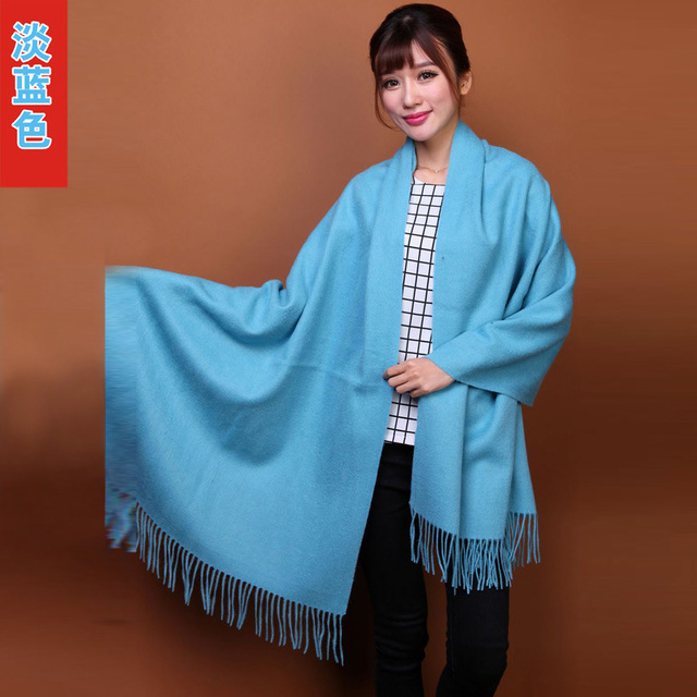 2015 New Light Blue Chinese Women's Fashion 100% Wool Pashmina Scarf Cashmere Shawl Tassels Wrap Solid Color Free Shipping