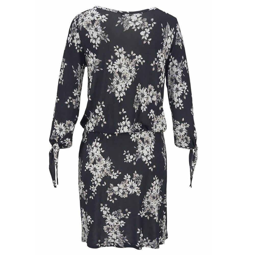 Для женщин летние полиэстер пляжный костюм с длинным рукавом с принтом сексуальный О-вырез облегающее мини-платье для вечеринки Платье Пря...