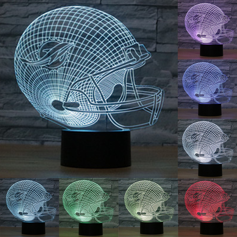 3D LED Miami Dolphins NFL Football Helmet Night Light Touch 7 Colors Desk Lamp Luminaria USB Table lamps For Children IY803700