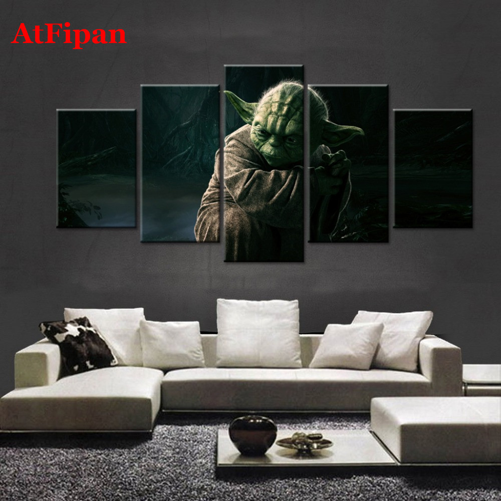 Atfipan Wall Pictures For Bedroom Movie Star Wars Master Yoda Home Wall Decor Vintage Modular Paintings
