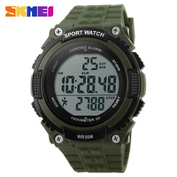 SKMEI Outdoor Running Watches Men LED Pedometer Digital Wristwatches Chronograph 50M Water Resistant Military Watch 1112
