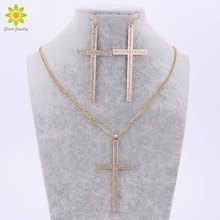 Classic Cross Wedding Jewelry Sets Gold Color Crystal Charm Pendant Statement Necklace Earrings Sets