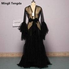 Bridal Boudoir Gewaad Bruids Tulle Illusion Sexy Trompet Mouwen Lange Kostuum Custom Made Mingli Tengda