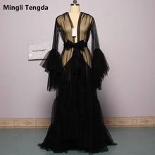 Mariée Boudoir Robe mariée Tulle Illusion Sexy trompette manches longues Costume sur mesure Mingli Tengda