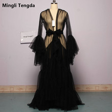 Vestido de novia Boudoir de tul de novia ilusión Sexy Mangas de trompeta traje largo hecho a medida mingli Tengda