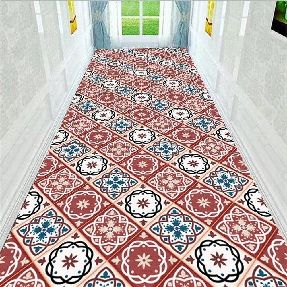 Classique européen rouge bleu impression tapis tapis anti-dérapant pour couloir couloir chambre salon décoration de la maison