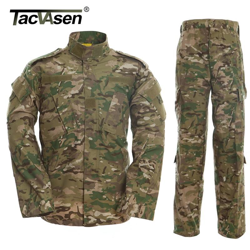 US $42.44 35% OFF|TACVASEN CP Camouflage Armee Militär Uniform Männer tactical Cargo Hosen Bdu Kampf Uniform Armee Männer der Kleidung Sets TD WHFE