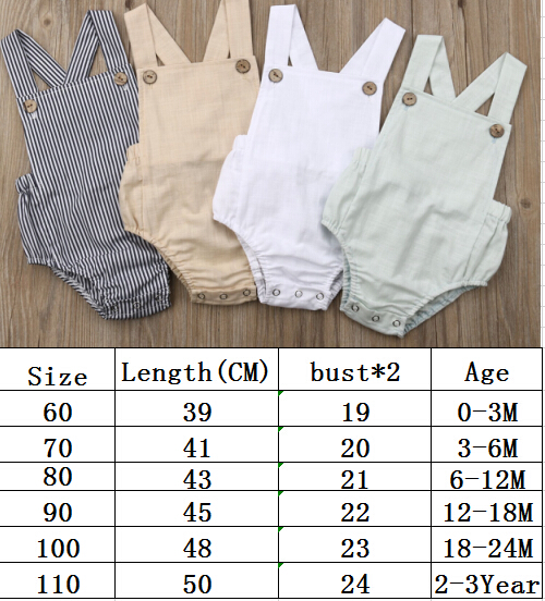 11Color Newborn Infant Baby Boy Girl Bodysuit Summer Button Jumpsuit Striped Casual Sleeveless Backless Solid Outfits Clothes