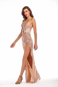 Image 4 - Sexy Mermaid Evening Dresses With High Split Sequined One Shoulder Sparkle Long Formal Gowns For Party Vestido Largo Fiesta 2020