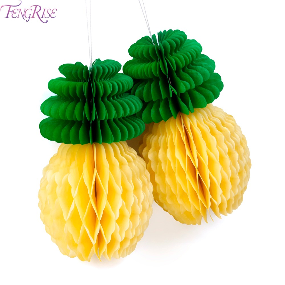 FENGRISE Pineapple Honeycomb Table Centerpiece Ananas Decoration Fruit Paper Lantern Luau Party Home Accessories