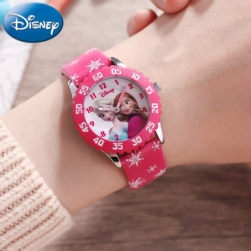 Disney Princess Frozen Sofia Girls Buckle PU Band Japan Quartz Red Pink Purple Watches Cuties 3ATM Waterproof Watch For Children