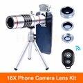 2017 de Alta Calidad 18X Zoom Teleobjetivo Lentes Telescopio Kit ojo de Pez Lentes de gran Angular lente Macro Para El Teléfono Celular Con el Trípode Clips