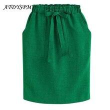 New Fashion Vintage Bow Midi Skirts Women Elegant Casual Skirt Female A line Elastic Waist Plus Size 3XL Office Cotton Skirts