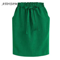 European And American Women S Casual Cotton Skirt Summer Bow Waist Dress Fluid Systems Loose Package