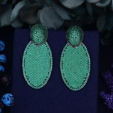 Godki 55 мм Роскошные Многоцветный полный кубический цирконий CZ инкрустация участия Свадебная вечеринка для ночного клуба серебряные даного серьги