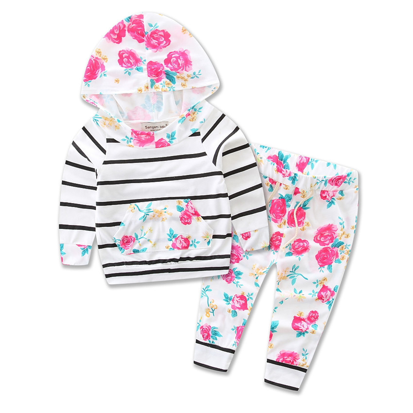 Baby Grils Boys Suits Clothes 2017 Spring/Autumn 100% Cotton Striped Baby Girls Set Children Clothing Sets Girls Clothes 3M-24M 2016 new winter spring autumn girls kids boys bunnies patch cotton sweater comfortable cute baby clothes children clothing