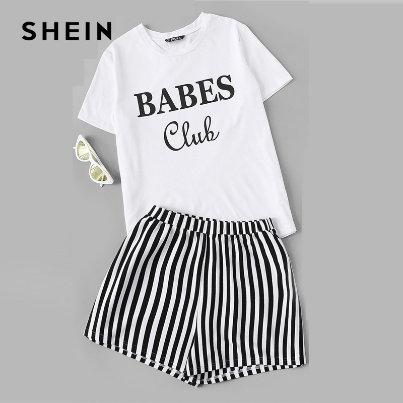 d522794148 SHEIN Black and White Letter Print Top And Striped Shorts PJ Set Women  Summer Nightwear Tops
